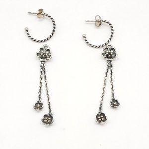 Pandora Silver Black Spinel Flower Earrings